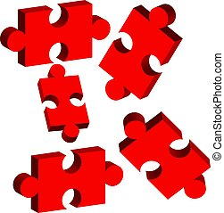 3D puzzle isolated on white background
