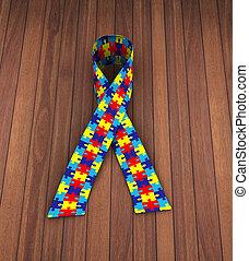 3d puzzle pattern ribbon autism awareness