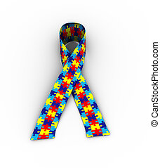 3d puzzle pattern ribbon autism awareness on white