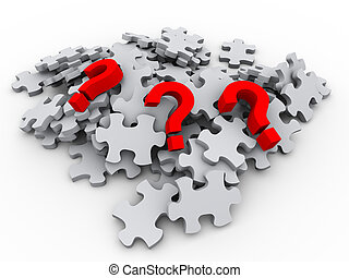 3d puzzle peaces and question mark