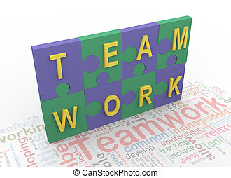 3d puzzle peaces with text 'teamwork' on background teamwork...