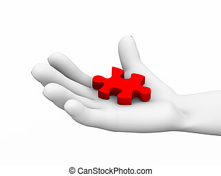 3d puzzle piece in hand