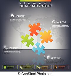 3D Puzzle piece infographics on dark background. Can be used for web design , diagram, for workflow layout