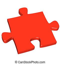 3D puzzle piece red