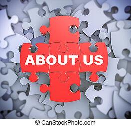 3d puzzle pieces - about us - 3d illustration of attached...