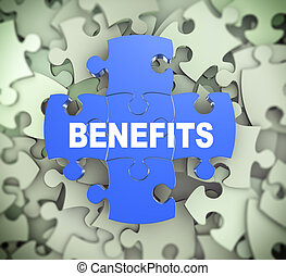 3d illustration of attached jigsaw puzzle pieces word benefits presentation on background of heap of puzzle pieces