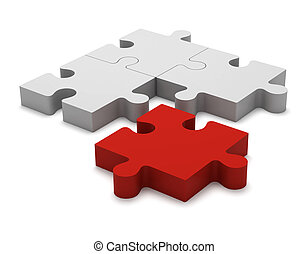 3D color white and red puzzle pieces isolated on white background. Concept renegade, turncoat, outcast.