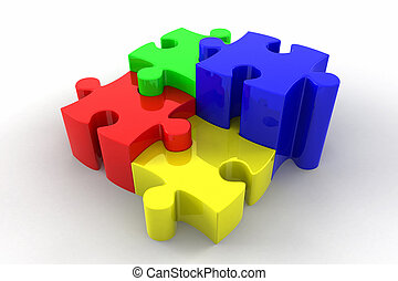 3d Puzzle Pieces Interlocking - Brightly coloured 3d...