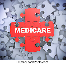 3d puzzle pieces - medicare - 3d illustration of attached...