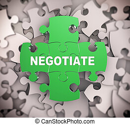 3d puzzle pieces - negotiate - 3d illustration of attached...