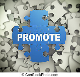 3d illustration of attached jigsaw puzzle pieces word promote presentation on background of heap of puzzle pieces