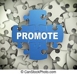 3d puzzle pieces - promote - 3d illustration of attached ...