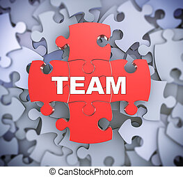 3d puzzle pieces - team