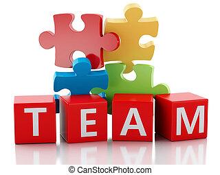 3d puzzle pieces. Teamwork concept.