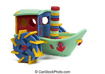 3D puzzle - steam boat - Rubber foam toys on the floor in...