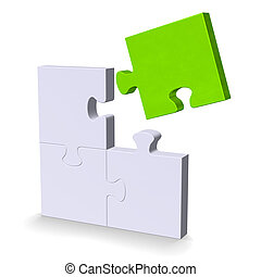 3d puzzle with green flying missing piece