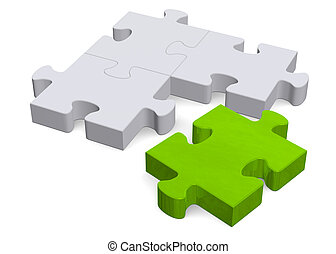3d puzzle with green missing piece on white, perspective