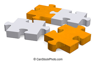 3d puzzle with missing pieces on white, perspective - 3d...