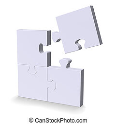 3d puzzle with one flying missing piece - 3d grey puzzle...
