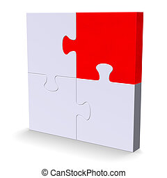 3d puzzle with one red piece