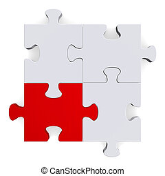 3d puzzle with one red piece on white