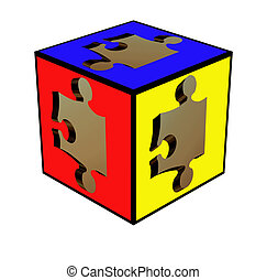 3D puzzle within a cube