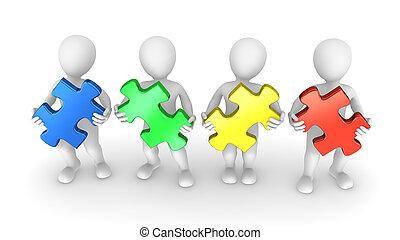 3d, puzzlesteine, gefärbt, leute