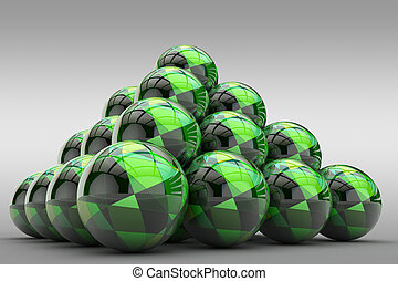 3D pyramid of spheres with glossy finish and abstract pattern