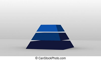 3D Pyramid shape with five layers, vector...