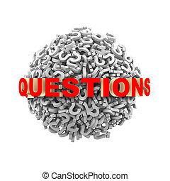 3d, pytania, słowo, kula