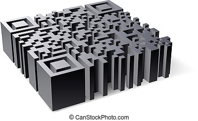 3D QR Code. Abstract illustration of designer on white background