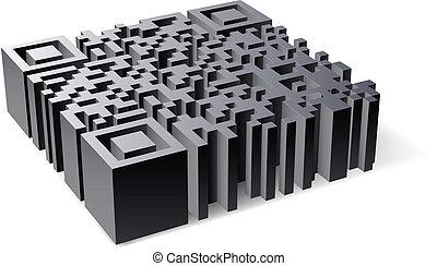 3D QR Code. Abstract illustration of designer on white...