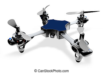 3d quadro helicopter on a white background