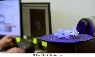 3d, qualité, recherche, échantillon, laboratoire, laser, ingénieur, balayé, balayage, examine