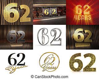 3d, quatre-vingt-dix, stars., ensemble, décoré, cercle, ...