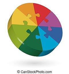 3d, quebra-cabeça, círculo, -, 8, partes