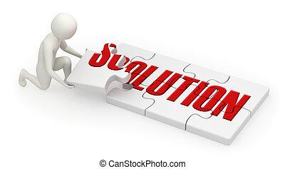 3d, quebra-cabeça, montagem, solução, homem