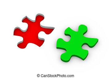 3d, quebra-cabeça, solução
