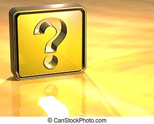3D Question Gold Sign