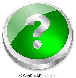 3d question mark button on green an