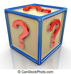 3d question mark cube
