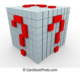 3d question mark cubes