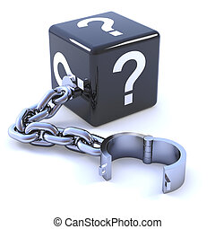 3d Question mark dice on a shackle