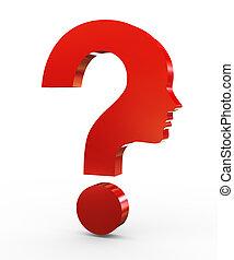 3d question mark face