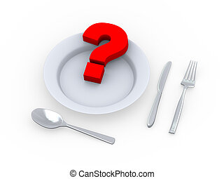3d question mark in plate with fork, spoon and knife - 3d...