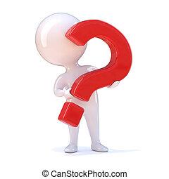 3d Question mark man