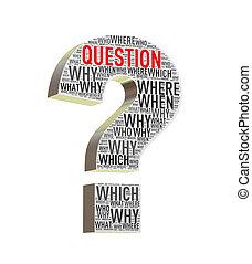3d question mark shape wordcloud wordtags