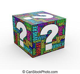 3d question mark wordcloud wordtags cube