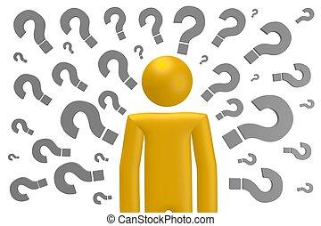 3D question marks concept
