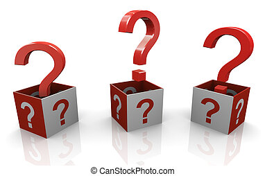 3d question marks - 3d render of question mark boxes